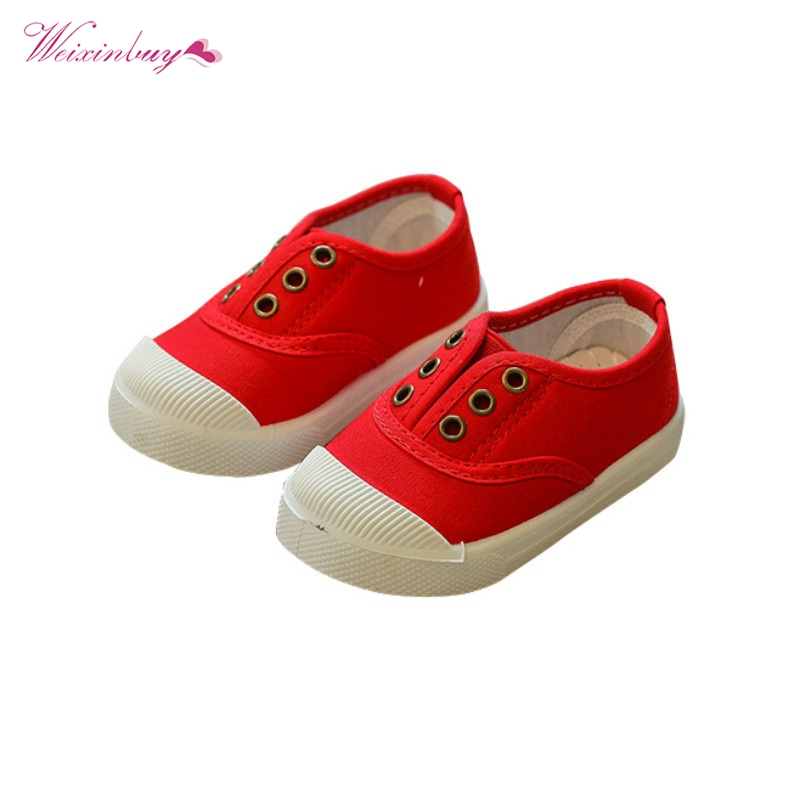 WEIXINBUY 8 Colors 2018 Children Shoes Girls Boys Candy Color Toddler Canvas First Walkers Comfor Kid Casual Shoes Sneakers 1-3Y