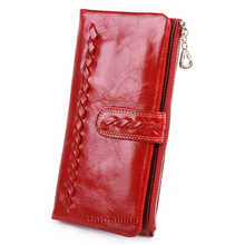 European and American Style zipper hasp Oil Wax Cowhide women wallets Small fresh weave solid color soft Long Lady Wallet