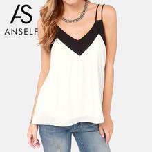 Anself 5XL Plus Size Women Blouse 2017 Sexy V Neck Casual Summer Chiffon Blouse Sleeveless Shirts Backless Tops Blusas Femininas