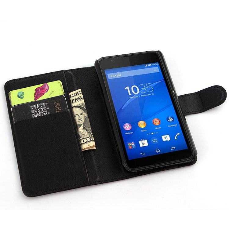 Lyxig plånbok PU-läderfodral för Sony Xperia E4g Dual E2033 E2003 - Reservdelar och tillbehör för mobiltelefoner - Foto 4