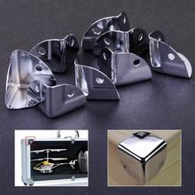 8 szt Metalowy wspornik narożny kątowe ochraniacze na drewniane pudełko bagażnika skrzynia Flightcase tanie tanio iron Meble nogi Szafy Iron with surface chrome plated Silver 2 25x0 05cm(0 89x0 02inch)(LxT) Hole approx 0 3cm(0 12inch)