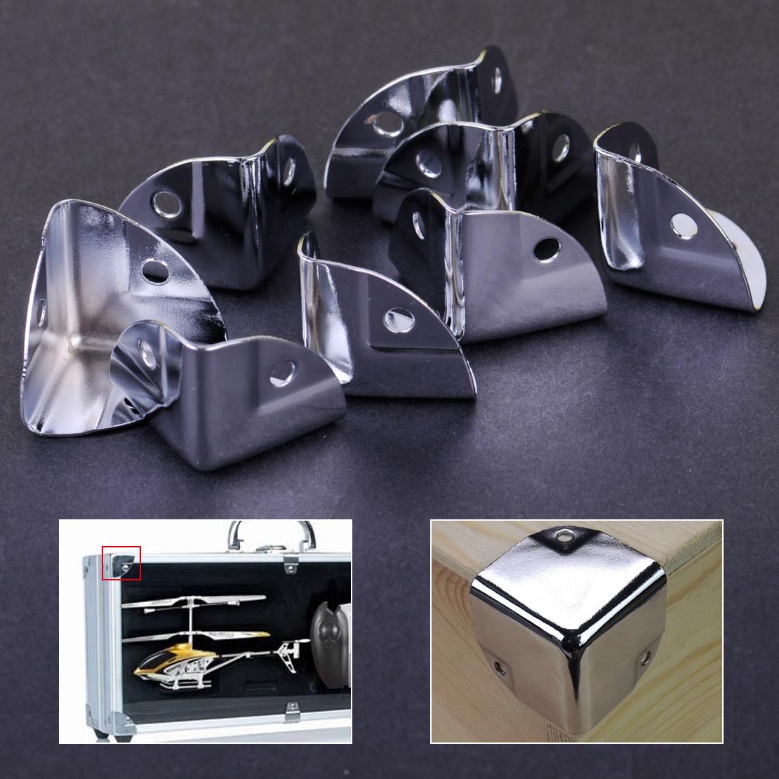 8pcs Metal Corner Bracket Angle Brace Protectors For Wooden Trunk Box Chest Flightcase