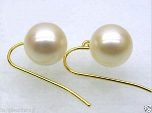 Hj 00333 Perfect round 9.5 - 10 5mmaaa + blanc mer du sud perle boucles d'oreilles avec 14 k