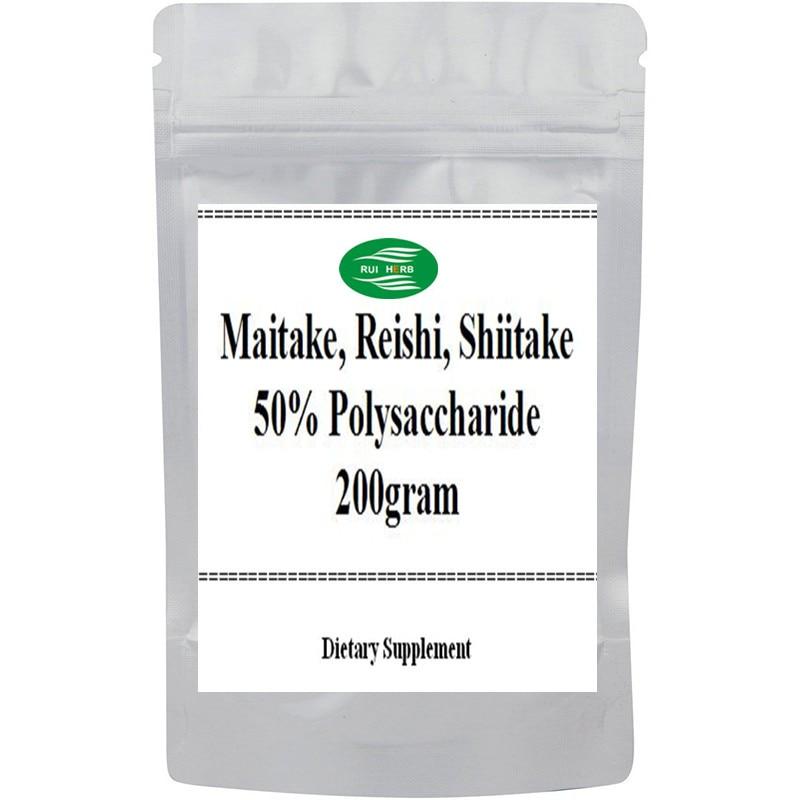 200gram (Maitake, Reishi, Shiitake) Mixed Extract 50% Polysaccharide Powder free shipping 35 2oz 1kg cordyceps reishi goji mixed extract 60% polysaccharides powder free shipping