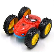 1 pcs Cartoon Spiderman Model Car Red Blue Double Flip Running Large Wheel Rolling Car Kid Gift Toy(China)
