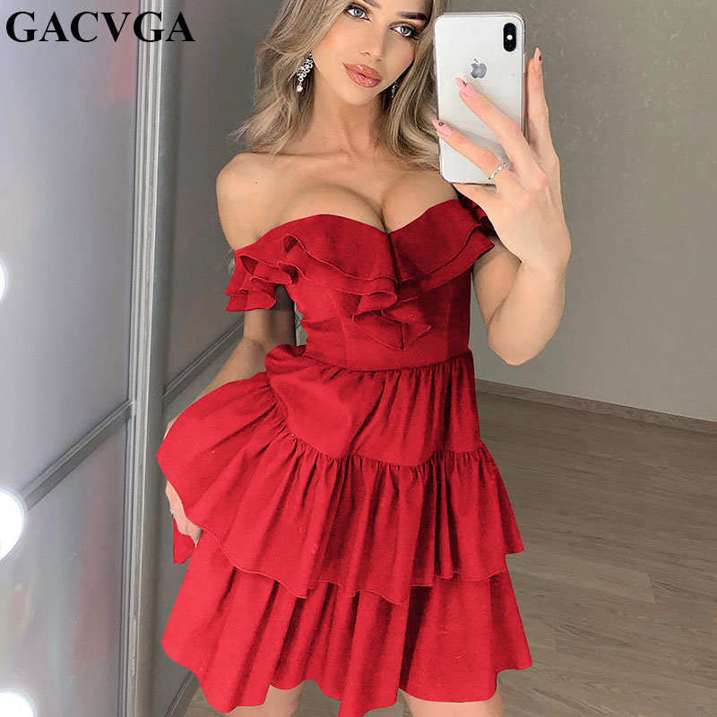 GACVGA Off Shoulder Women <font><b>Dress</b></font> <font><b>2019</b></font> New Summer <font><b>Dress</b></font> Strapless <font><b>Club</b></font> <font><b>Dress</b></font> Celebrity <font><b>Mini</b></font> <font><b>Sexy</b></font> Party <font><b>Dresses</b></font> <font><b>Runway</b></font> Vestidos image
