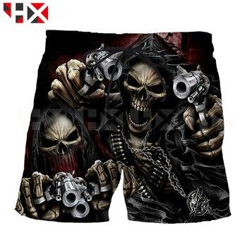 HX Summer New Grim Reaper Men Shorts 3D Printed Grim Reaper Skull Unisex Skull Head Casual Harajuku Streetwear Style Shorts A505