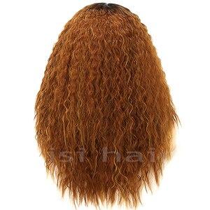 Image 4 - Lisi cabelo 22 inchs para cabelo preto onda de água longo ombre preto/marrom perucas sintéticas afro americano penteado
