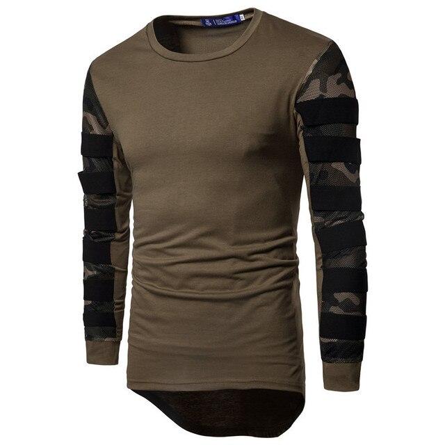 02acaa4b MORUANCLE Fashion Mens Hi Street Tees Long Sleeve Camo Patchwork Oversized  Streetwear T Shirts Curved Hem Tops For Man