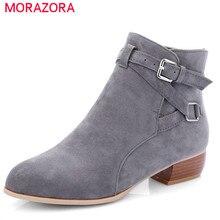 MORAZORA 2020 neueste flock runde kappe stiefeletten für frauen schnalle herbst winter stiefel einfarbig platz heels schuhe frau