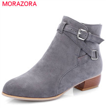 MORAZORA 2020 newest flock round toe ankle boots for women buckle autumn winter boots solid color square heels shoes woman