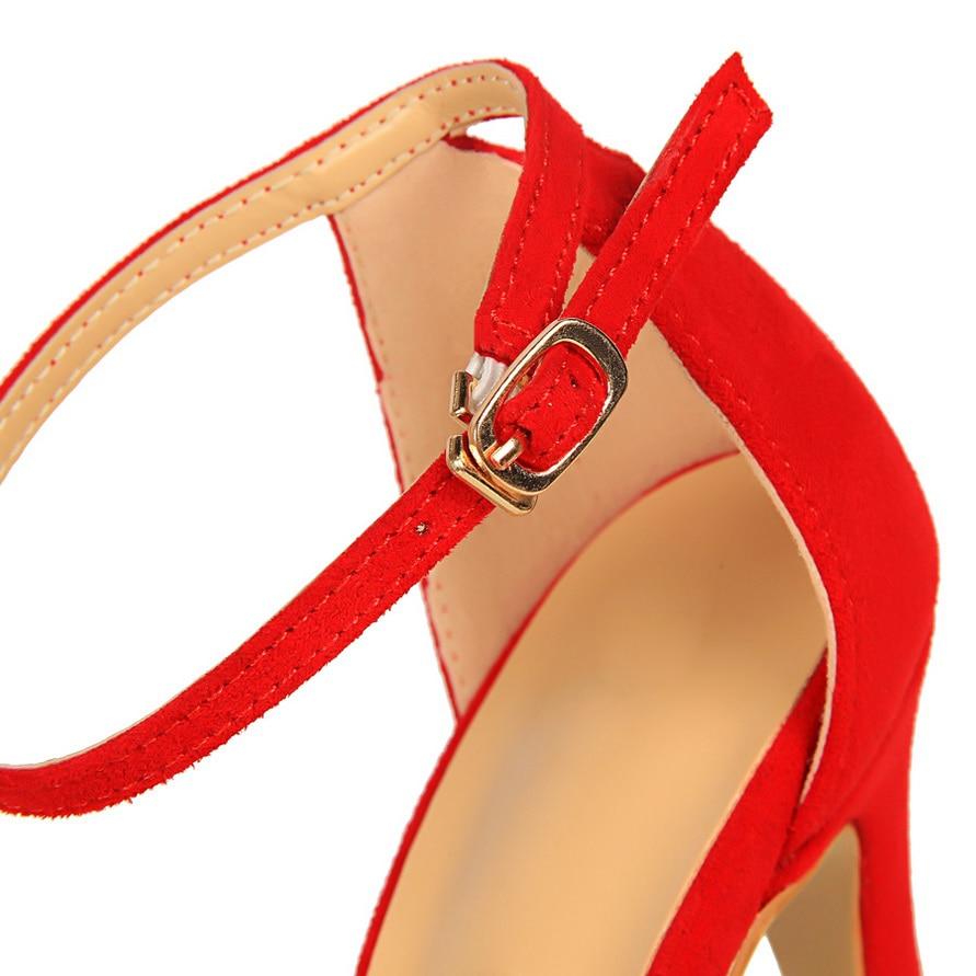 HTB1NOq0nhuTBuNkHFNRq6A9qpXae 2019 Women Size 40 Flock Extreme 11cm High Heels Fetish Sandals Female Gladiator Cheap Strap Shoes Lady Nude Valentine Red Pumps