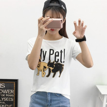Casual Dogs and cats Print Animal Short sleeves T-shirts for women O-Neck Loose female t shirt fashion Plus Size Tops Tees