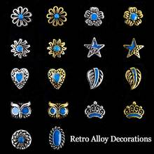 10pcs New Japan Korea Style Retro Alloy Nail Art Stone Decorations DIY 3d Charm Nail Supplies Tools