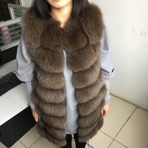 Image 5 - maomaokong 88cm long natural fox fur vest fashion sleeveless fur jacket coat warm female slim park jacket