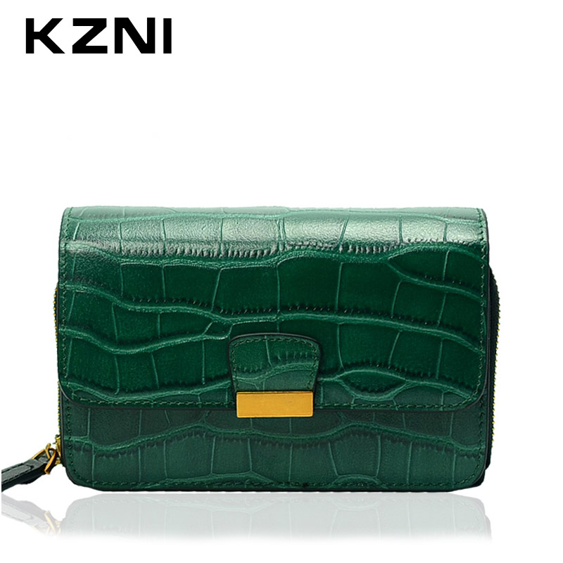 KZNI Women Genuine Leather Purses and Handbags Clutch Crossbody Shoulder Bags Sac a Main Femme De Marque 2149
