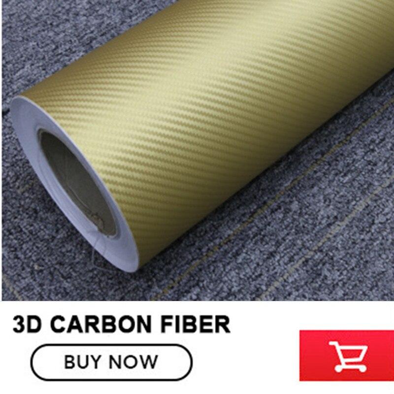 1.52*30 M/Roll gold 3D autocollant en fibre de carbone 3D film de vinyle en fibre de carbone avec bulles d'air gratuites par