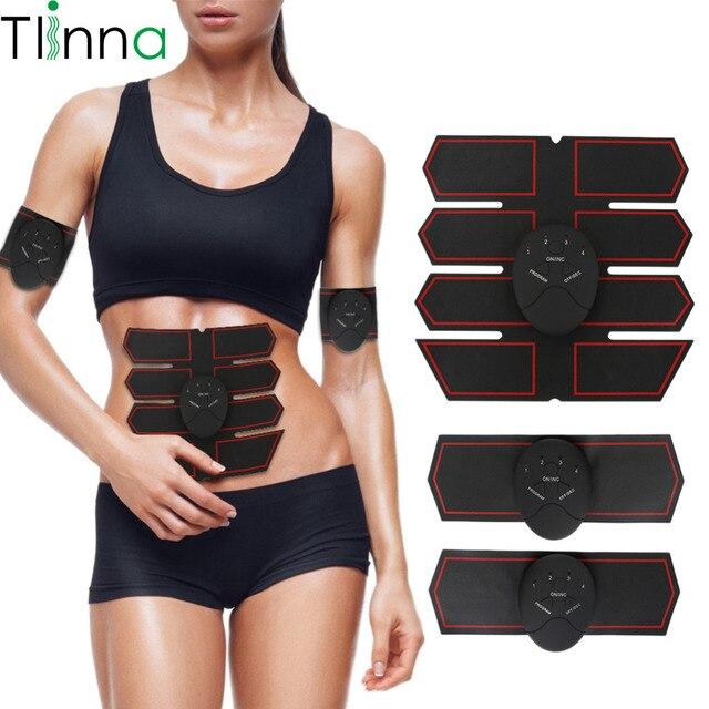 Tlinna Simulador Muscular EMS Corpo Emagrecimento Massageador Muscular Cinto de Treinamento de Fitness Abdômen Máquina Elétrica Sem Fio Inteligente Unisex
