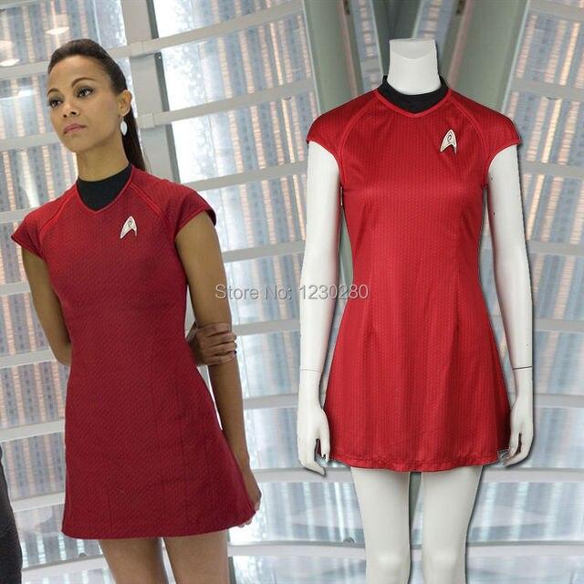 4c5ceb55d1e Фильм Star Trek в темноте Ухура красный летнее платье Косплэй Связь Офицер  Костюм