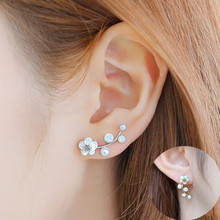 New Hot Sell Crystal Branch Shell Pearl Flower Stud Earrings For Women Gold Bijoux Fine Jewelry Brincos Pendientes Mujer 8906