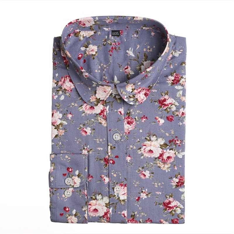 Dioufond 2019 Plus Size Casual Womens Blouses Cotton Shirts Fashion Button Floral Blouse Turn-Down Collar Top shirt Femme Blusas