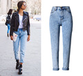 2016 Novas Calças Lápis Slim calças de cowboy Do Vintage Calça Jeans de Cintura Alta das mulheres calças soltas boyfriend jeans de lavagem de ácido