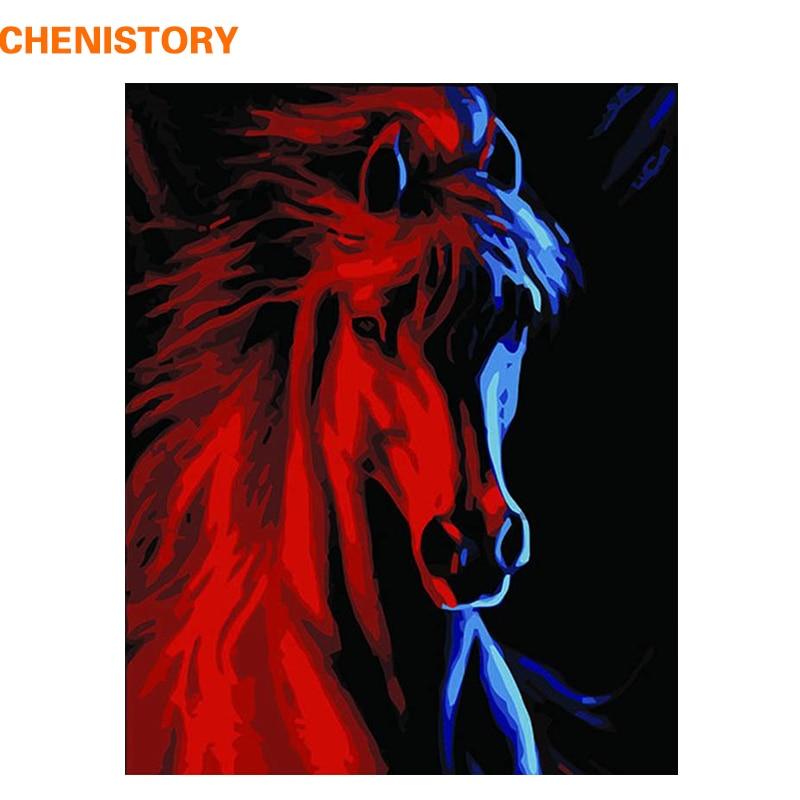 Купить chenistory животные красный бег лошади diy масло набор для рисования