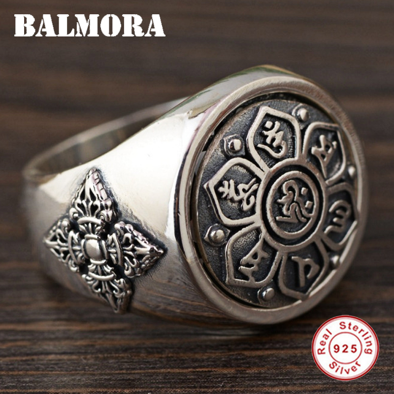 BALMORA Solid 925 Sterling Silver Buddhistic Six Words Mantra Rings for Women Men Gift Rotated Silver