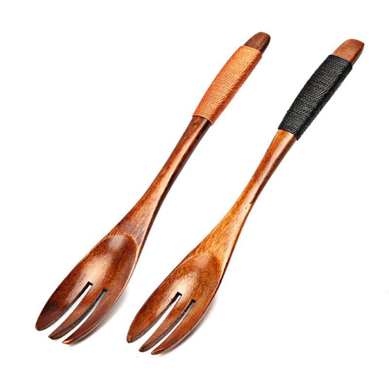 Set of 2pcs Wood Forks Dessert Fruit Salad Cake Fork Japanese Style Wooden Forks Kids Children Tableware Kitchen Accessories (1)