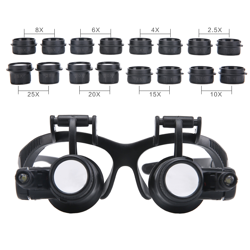 2.5X 4X 6X 8X 10X 15X 20X 25X Multi-Power Illuminated Magnifier Eye Glasses Loupe Jeweler Magnifying Glass with 2LED for Repair magnifier 10x 15x 20x 25x led double eye glasses loupe lens jeweler watch repair measurement with 8 lens