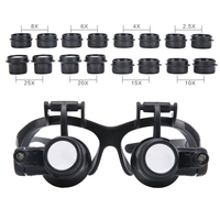 2.5X 4X 6X 8X 10X 15X 20X 25X Multi Power Illuminated Magnifier Eye Glasses Loupe Jeweler Magnifying Glass with 2LED for Repair