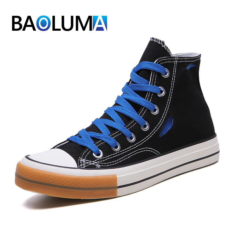 Men's High Vulcanize shoes Fashion Hole Canvas Shoes Skateboard Breathable Classic Men's Sneaker Lace up Neutral casual shoes