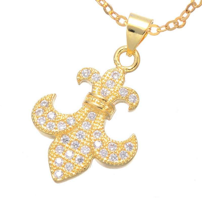 Luxury Zirconia Rhinestone Crystal Copper Gold Silver Rose Gold Fleur De Lis Flower Charm Necklaces Pendants For Women bijoux