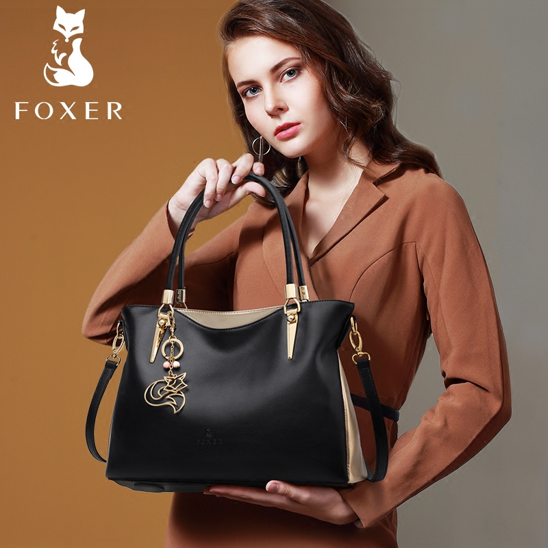 FOXER Brand Women s Cow Leather Handbag Fashion Female Elegant Totes High Quality Lady Shoulder Bag