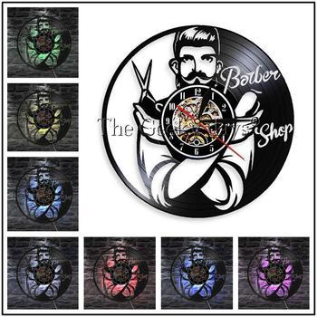 Barber Shop Vinyl Record Wall Clock Modern Design Beauty Salon Store Vintage 3D Timepiece Haircut horloge Hairdresser Gift 20