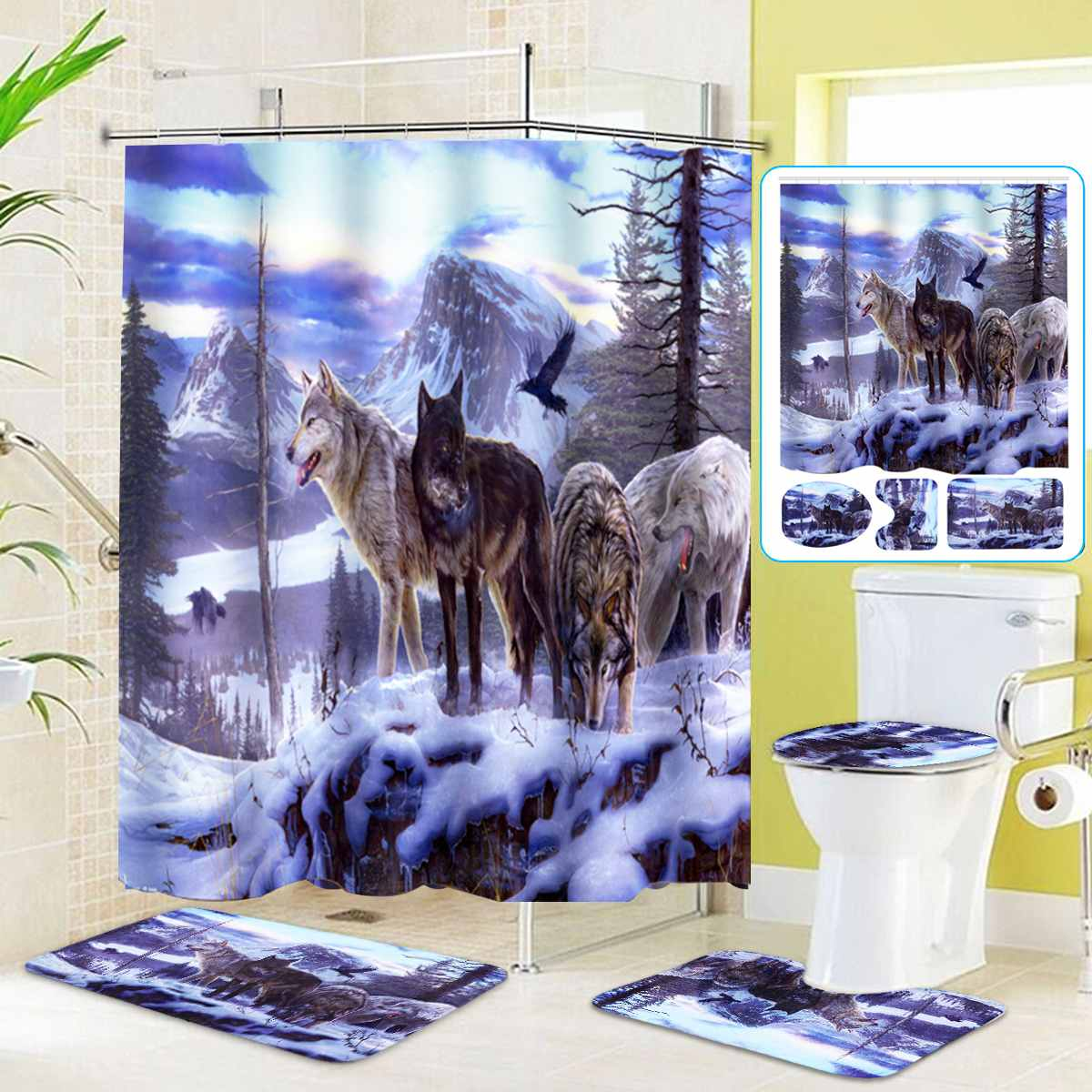 1 3 4pcs Set Snow Wolf Waterproof Shower Curtain Bathroom
