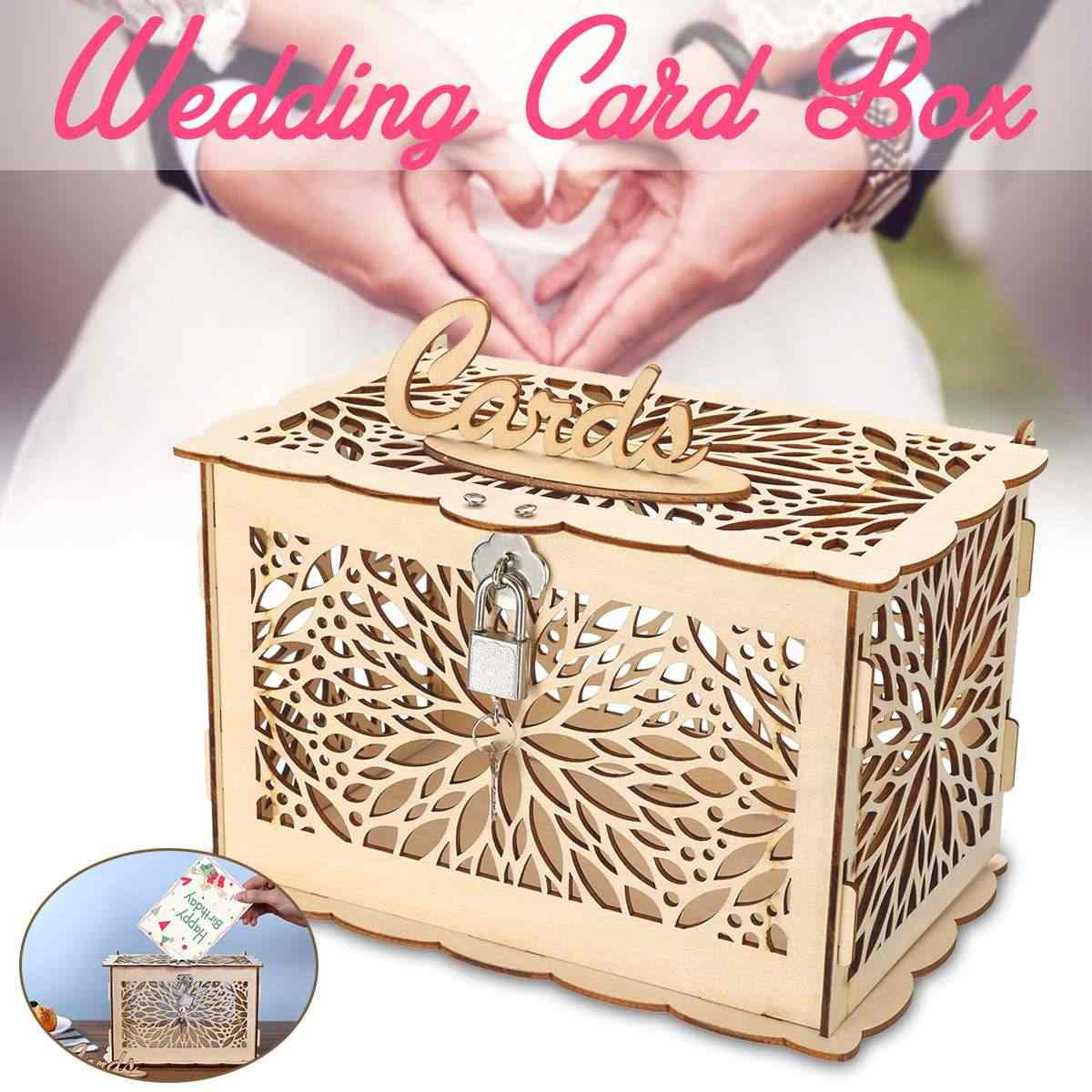 Rustic Wedding Card Box DIY Wedding Gift Card Holder Wooden Money Case Supplies for Birthday Party Baby Shower Decoration+Lock