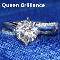Queen Brillo 1.5 Ct F Color Engagemen Anillo de Diamante de Moissanite Con Acentos de Diamante de Compromiso Sólido 14 K 585 Oro Blanco