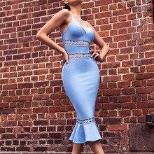 New Arrival Women Bandage Dress Hollow Out Sexy Mermaid Vestidos Spaghetti Strap Bodycon Celebrity Party Dress Club