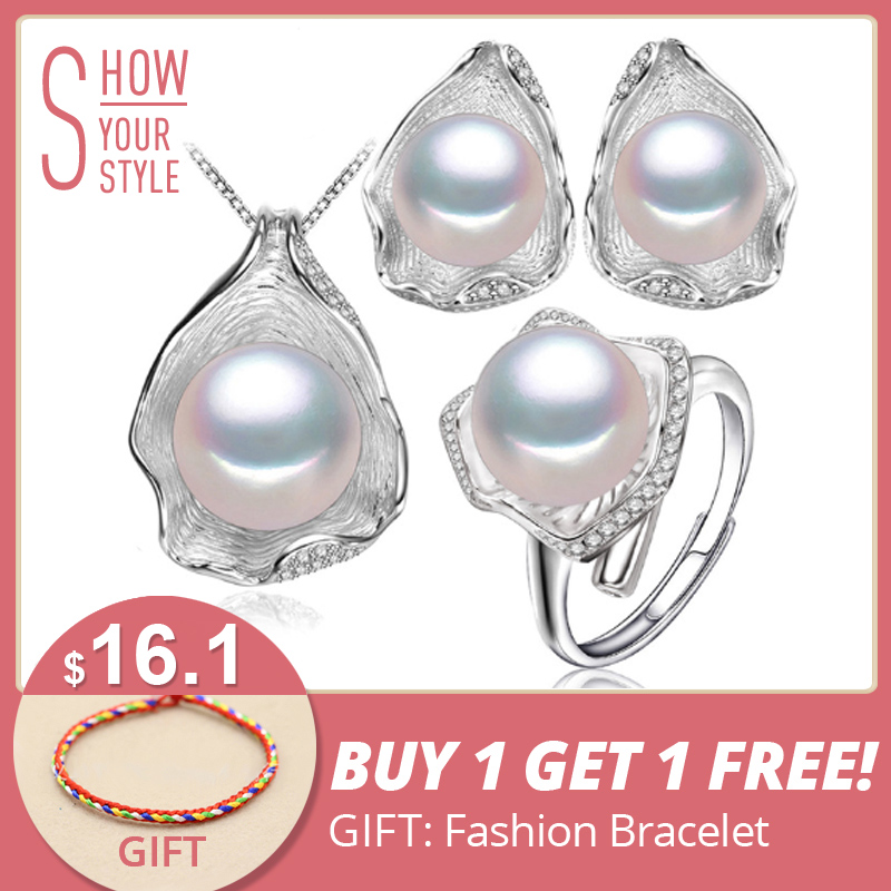 FENASY s925 Sterling sølv Ferskvann perle smykker sett for kvinner - Fine smykker - Bilde 1