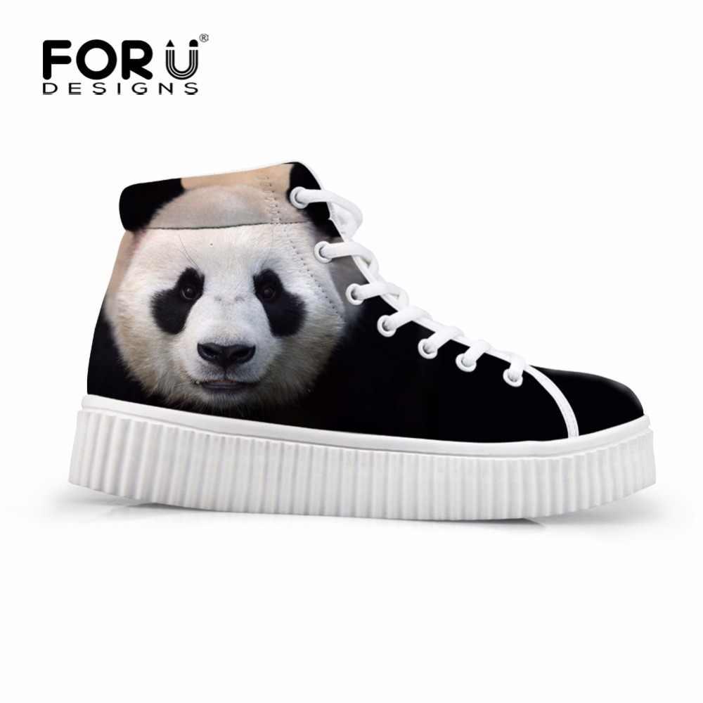 FORUDESIGNS Dễ Thương Đen Nữ Casual Giày Sneaker Nữ 3D Động Vật Gấu Trúc Hoa Văn Cao Cấp TOP Bãi Nền Tảng Thu Giày Boots