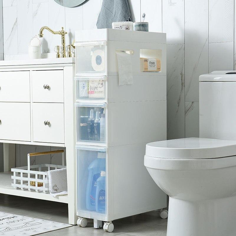 2019 New 22cm Width Storage Drawer Organizador Rack Plastic Toilet Type Locker Cabinet With Tissue Box Sundries Eco friendly