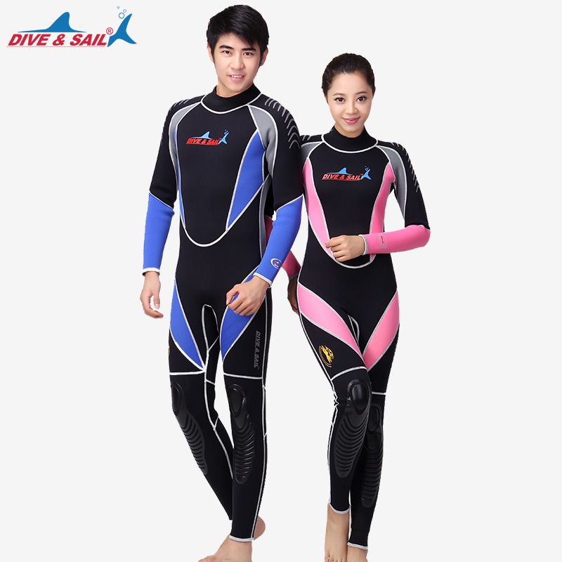 DIVE&SAIL 3MM Neoprene One-piece Wetsuit Full Body Triathlon Diving Suit Men Women Patchwork Snorkeling Spearfishing Jumpsuit spearfishing wetsuit 3mm neoprene scuba diving suit snorkeling suit triathlon waterproof keep warm anti uv fishing surf wetsuits