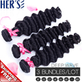 HERS HAIR Brazilian Deep Wave Virgin Hair Brazilian Deep Curly Weave Bundles,Loose Deep Wave Brazilian hair Extensions Body Wave