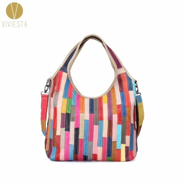 959e40e3db STRIPED PATCHWORK GENUINE LEATHER HOBO - Women s Fashion Casual Rainbow Real  Soft Skin Large Handmade Tote Shoulder Bag Handbag