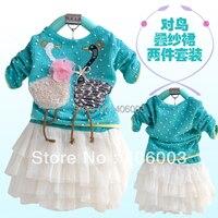 2012 New Spring Child One Piece Dress Long Sleeve Baby Swan Girl Dress