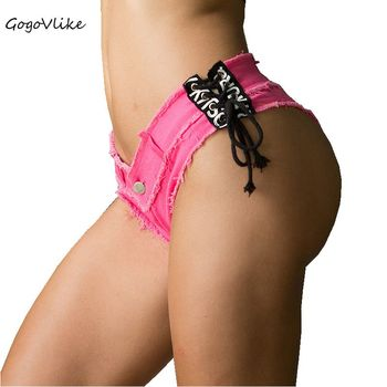 5 Colors Sexy Lace Up Pole dance thong shorts Women jeans denim Micro Mini Ultra Low Rise Waist Clubwear cortos mujer DK044S20 2