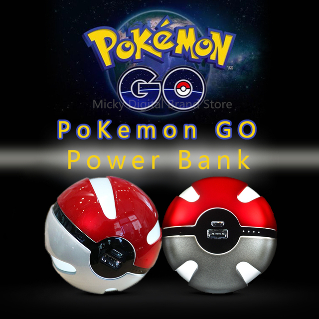 2016 Hot Mobile Game Pokemon Go Ball Power Bank 10000mA Chager With LED Light For Pokemon Go AR Games Best Quality Free Shipping
