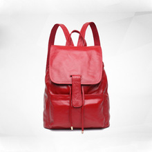Womens new leather large-capacity backpack Korean version of the first layer vertical square-shaped bag with backpac