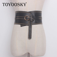 Gothic Punk Rock Luxury Women PU Belt with Rivet Waist Belts accessories Ins Style Top quality Elastic  TOYOOSKY